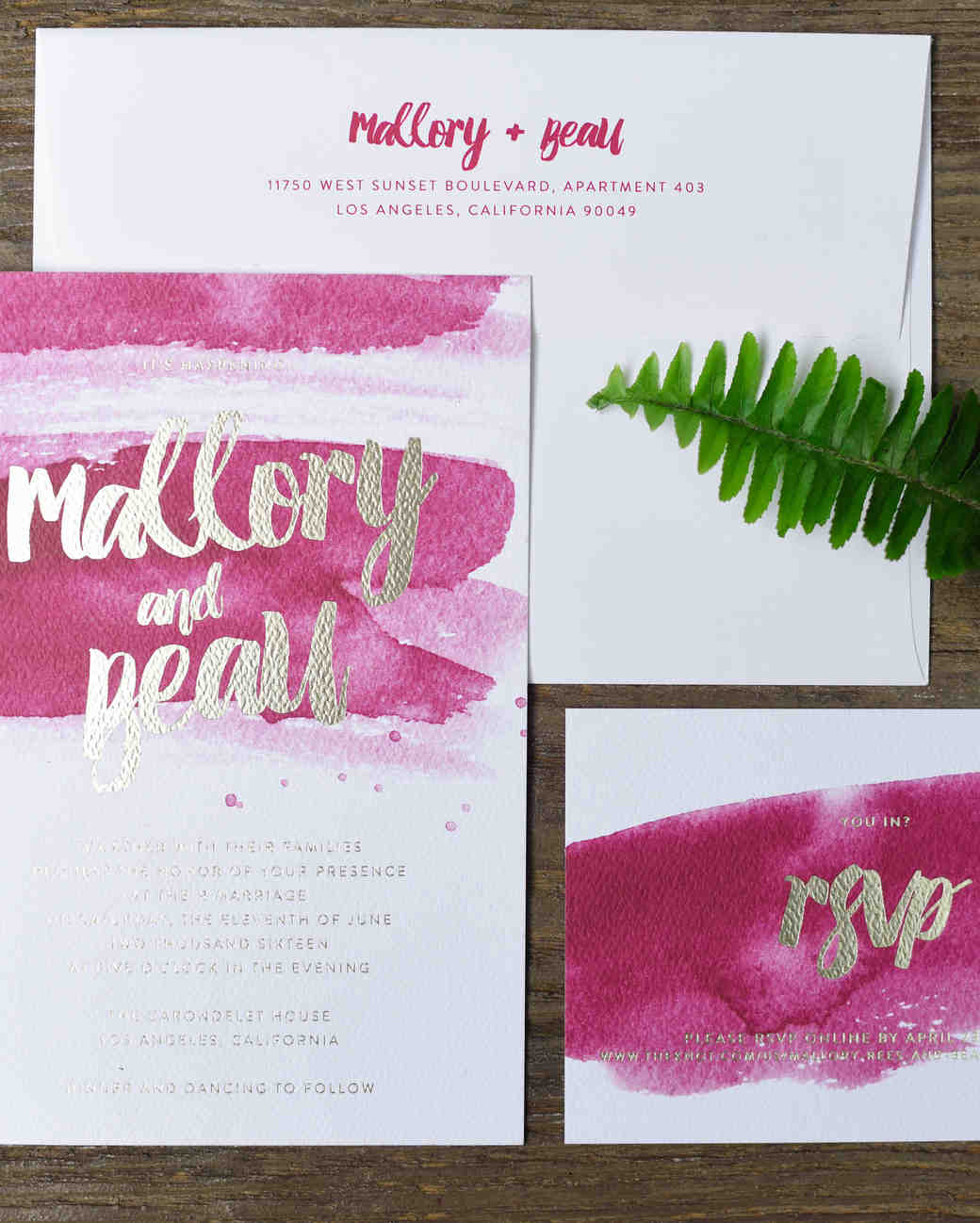 fuchsia watercolor wedding invitation
