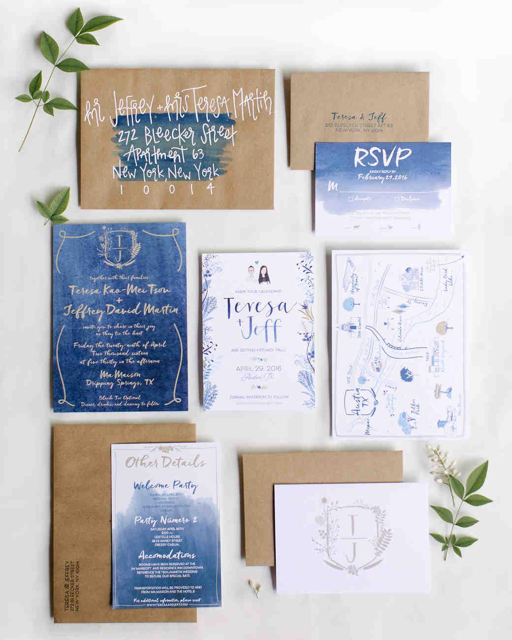 The loveliest watercolor wedding invitations martha stewart weddings junglespirit Gallery