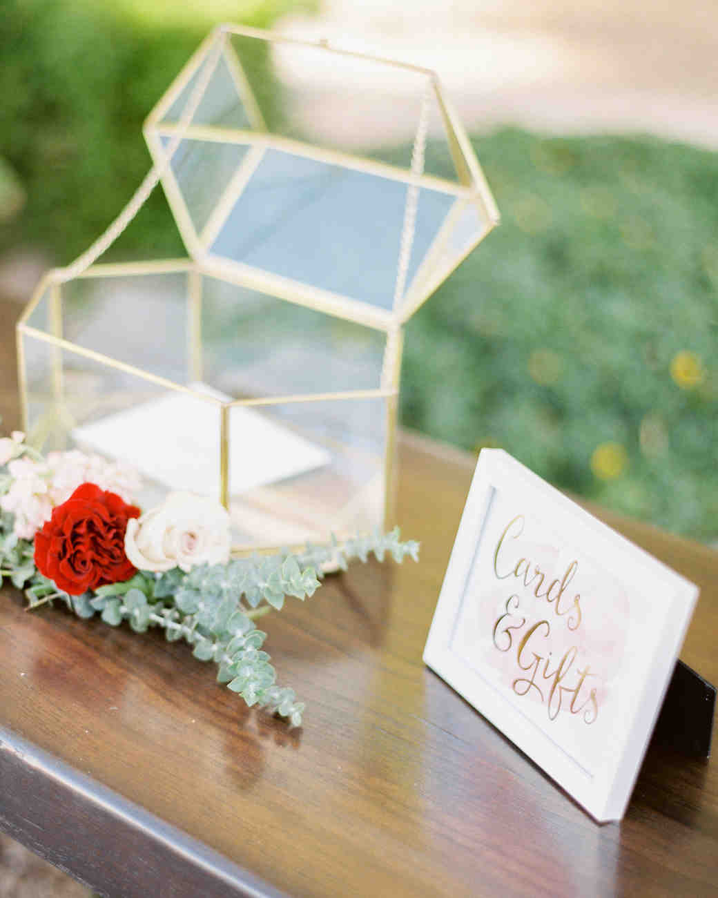 21 ways to set up a card or gift table at your wedding martha wedding gift tables rachel solomon photography geometric vessel negle Images