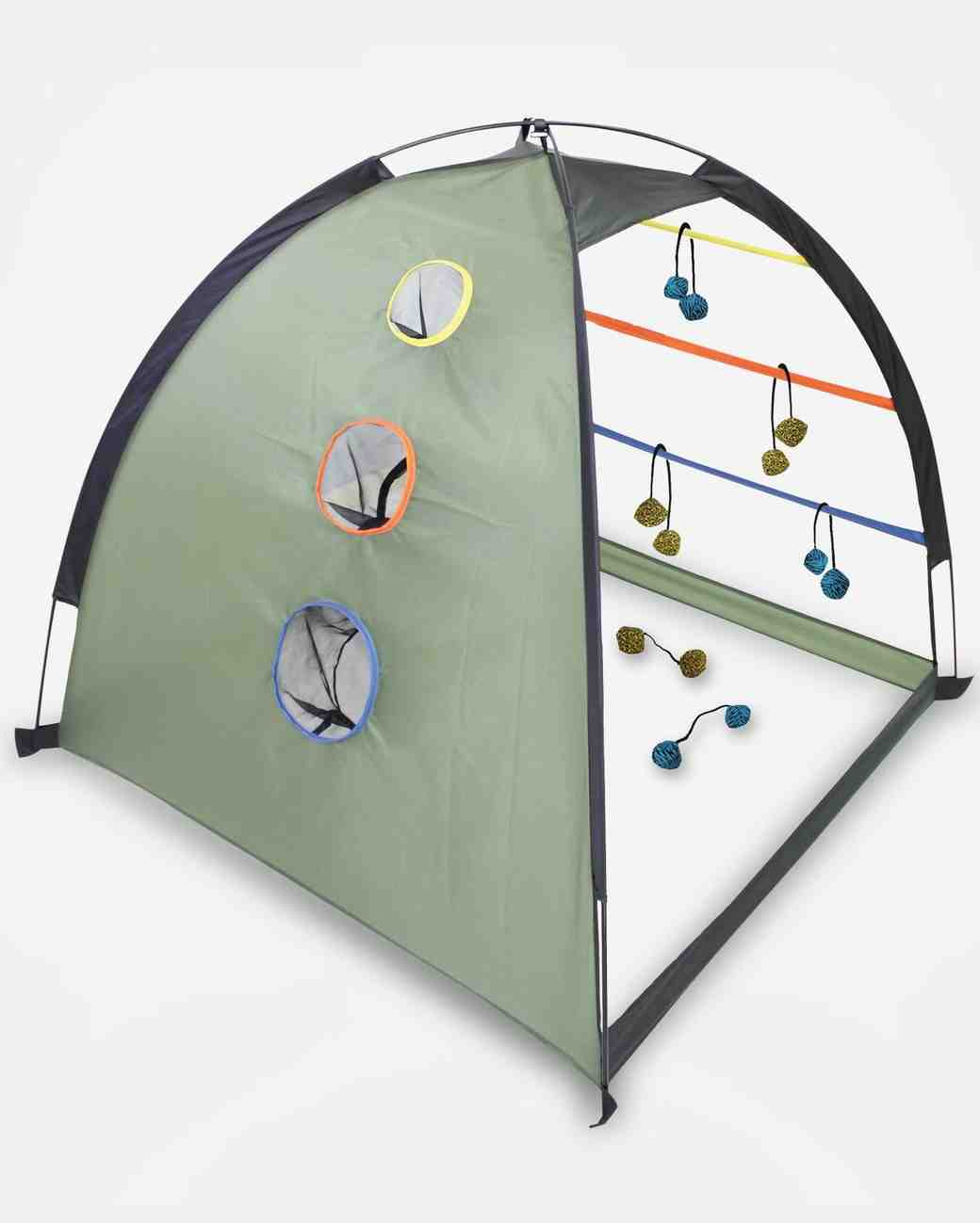outdoor backpack dome and cornhole set