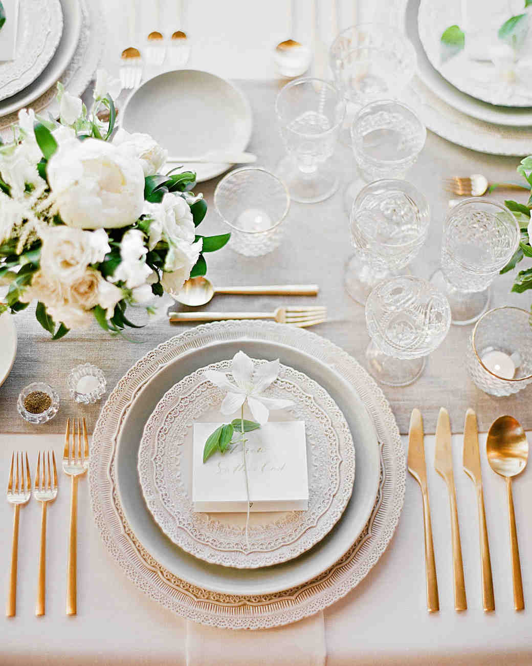 White, Green and Gold Wedding Tablescape