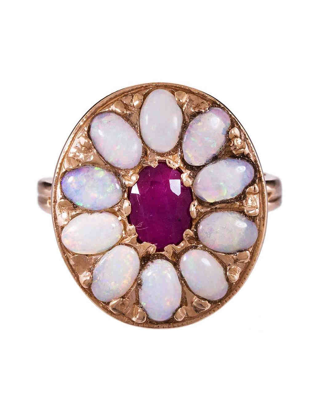 Arik Kastan Opal and Ruby Mandala Engagement Ring