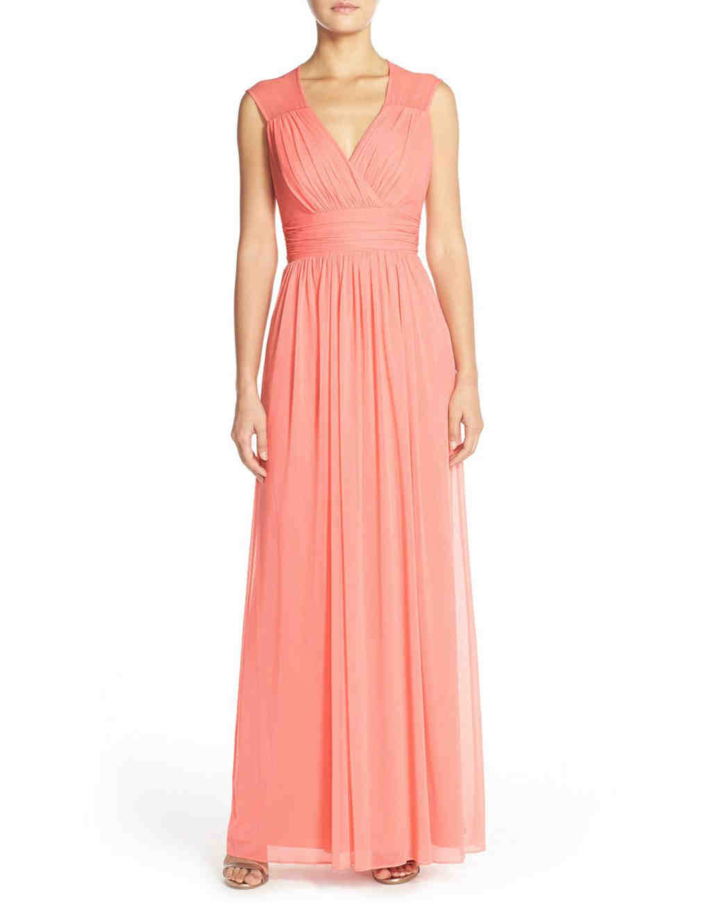 coral bridesmaid dress alfred sung shirred chiffon