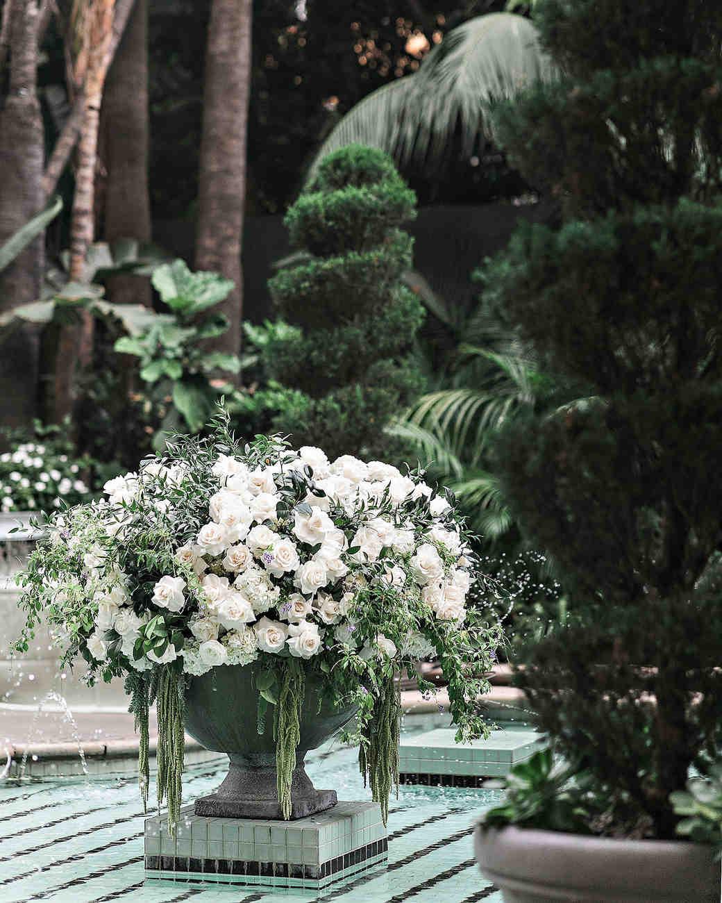 danielle kevin wedding ceremony floral arrangement