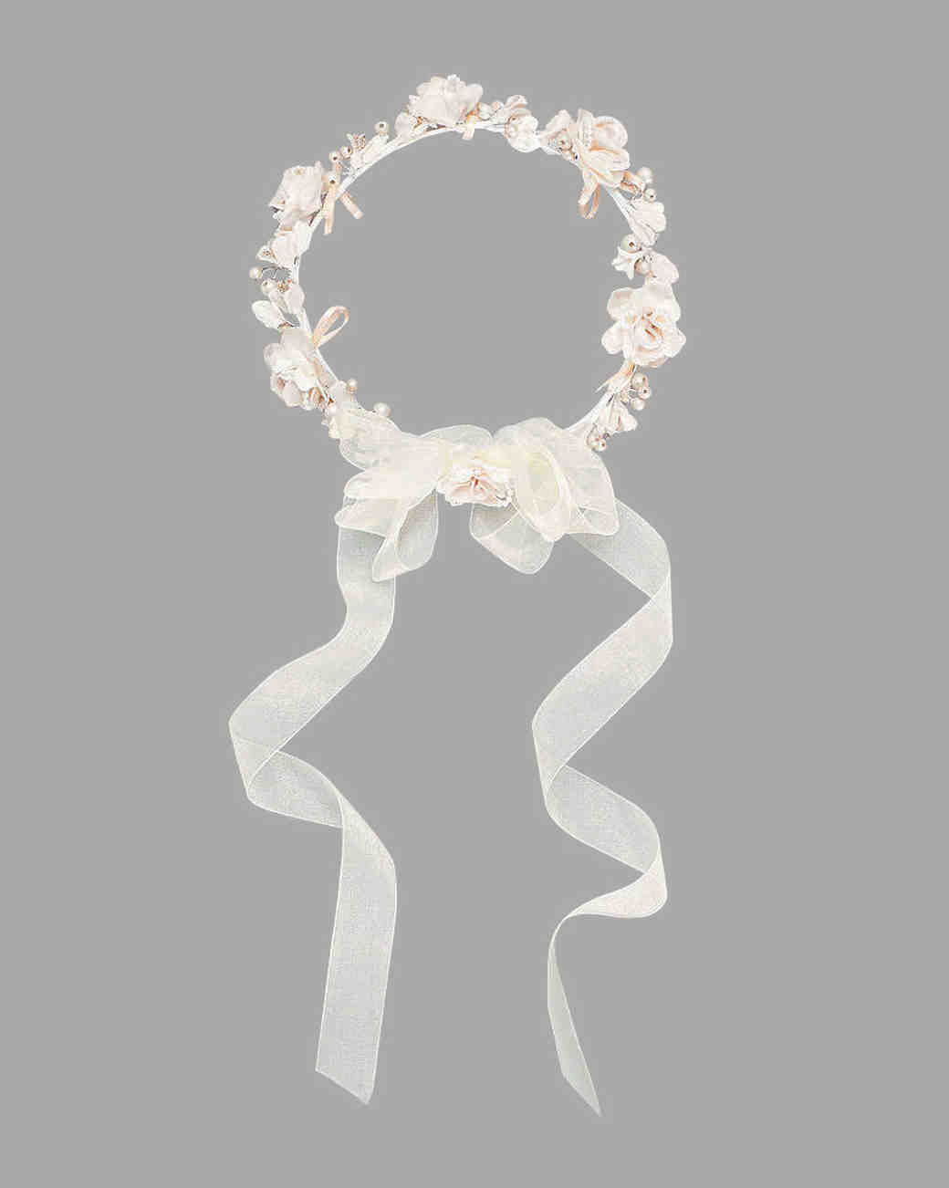 David's Bridal Champagne Pearl Flower Crown