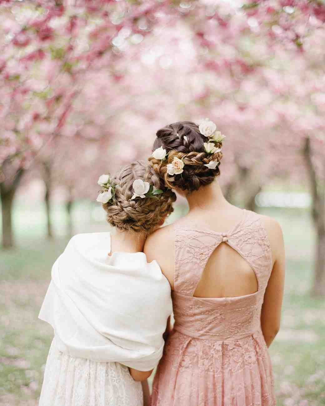 junior bridesmaids braided hairstyle