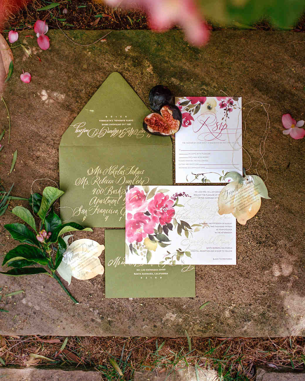 Spring Wedding Invitations with Watercolor Flowers and Green Envelopes