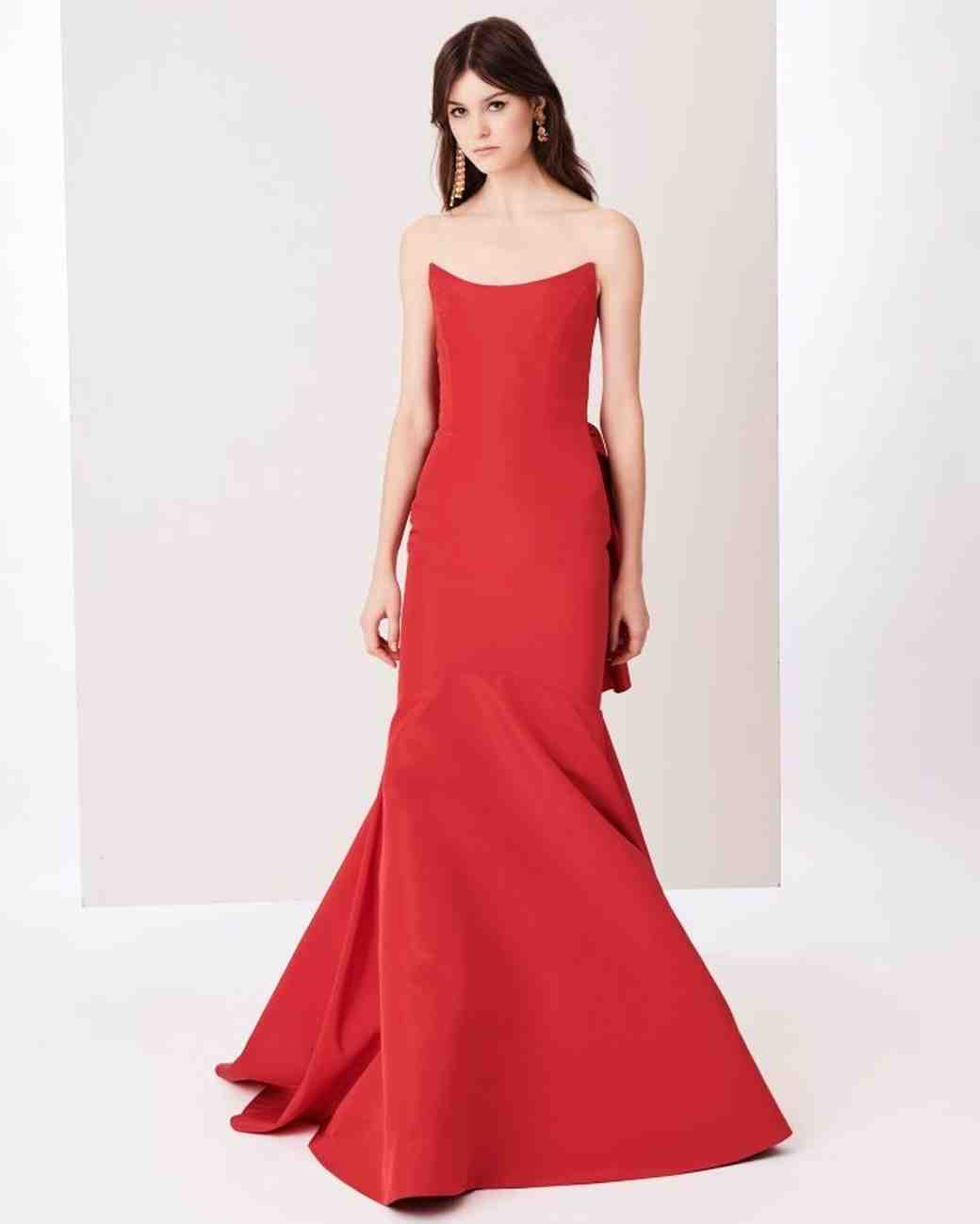 Silk Mother of the Bride Dress, Red Oscar de la Renta Gown
