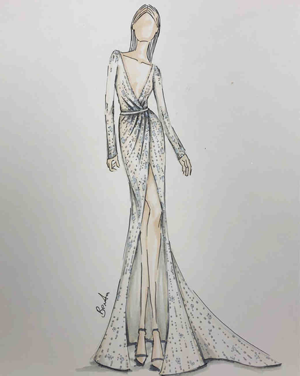 Spring 2019 Bridal Fashion Week Preview Sketch, Berta