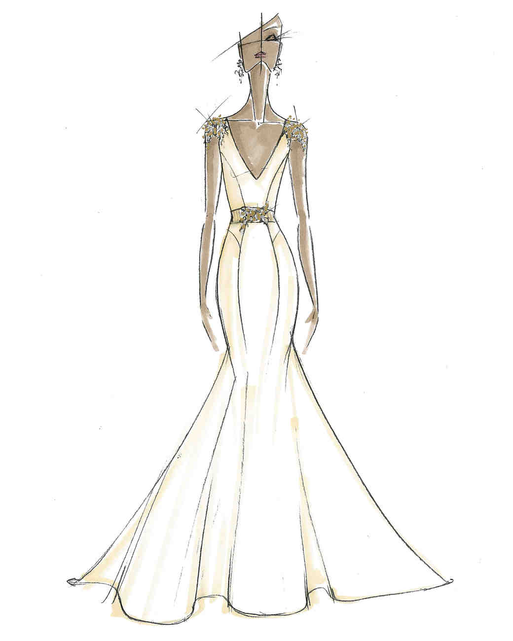 zac posen wedding dress sketch