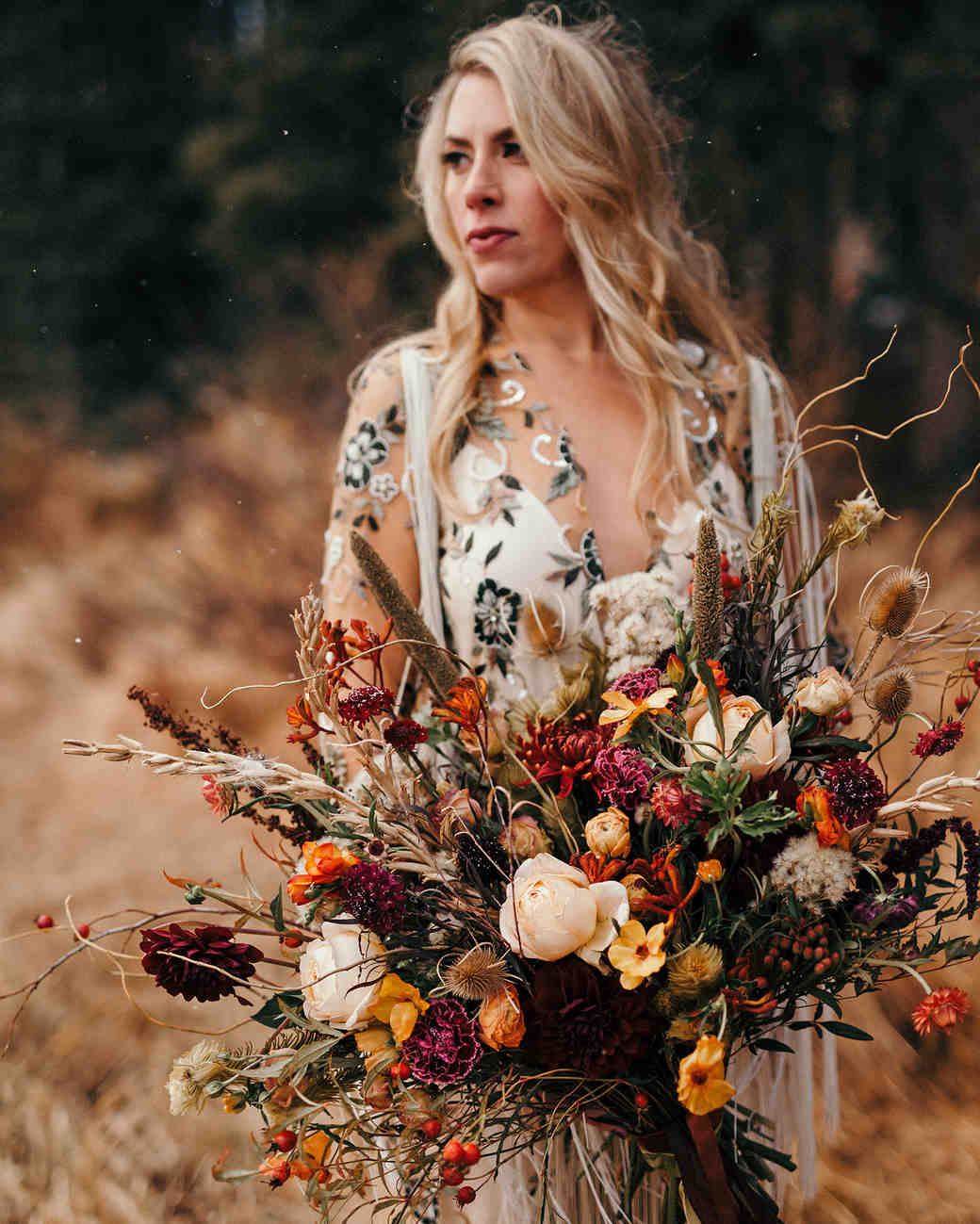 rustic deep peach, gold, pink, and burgundy bouquet