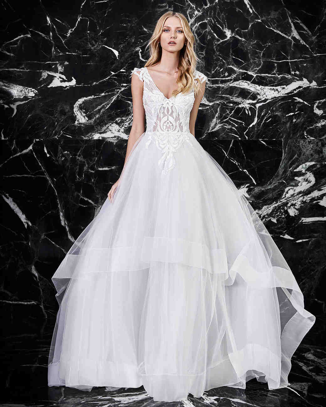 Victoria Kyriakides A Line V Neck Wedding Dress Spring 2018