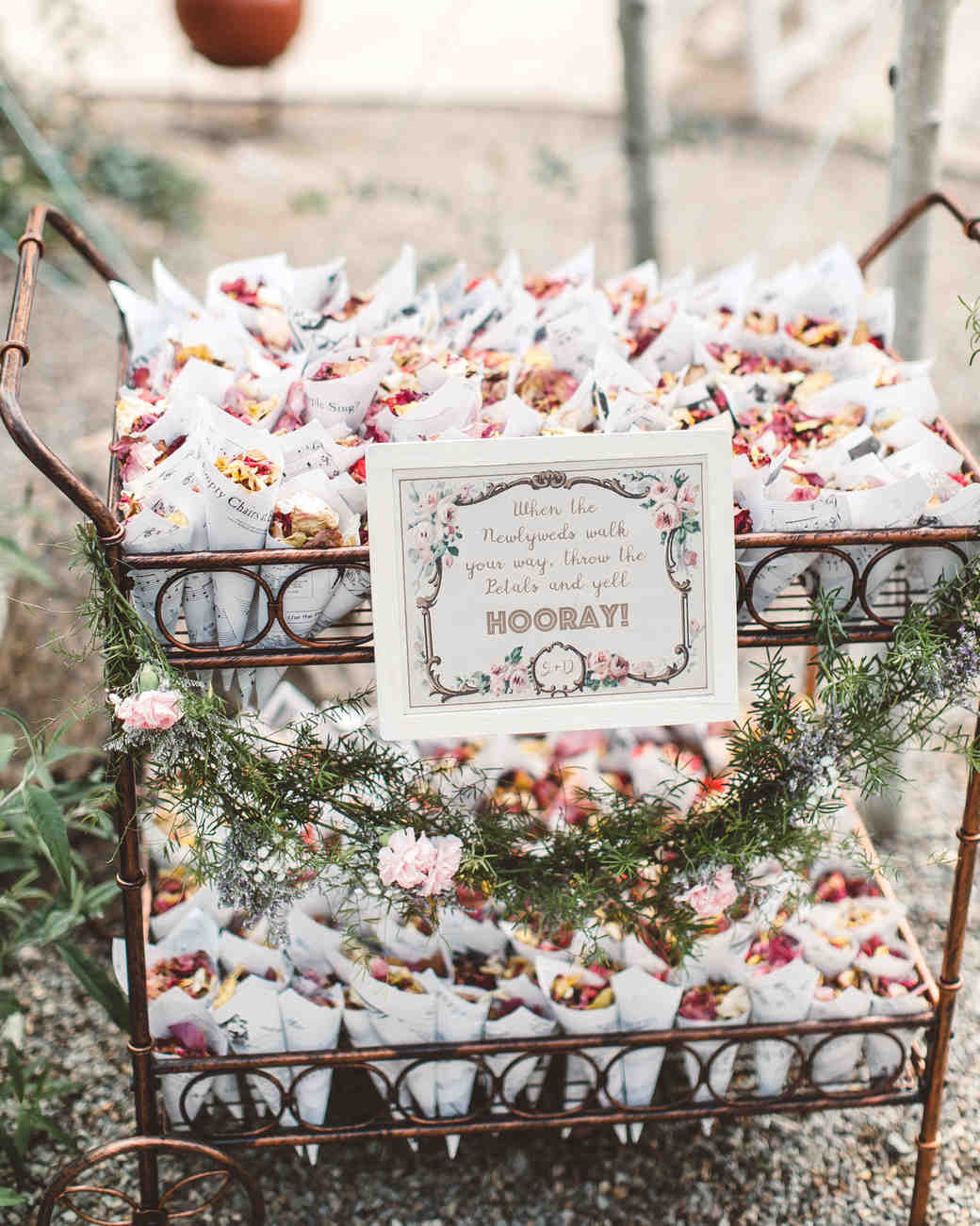 Wedding Flower Petal Bar, Flower Petals in Brass Cart