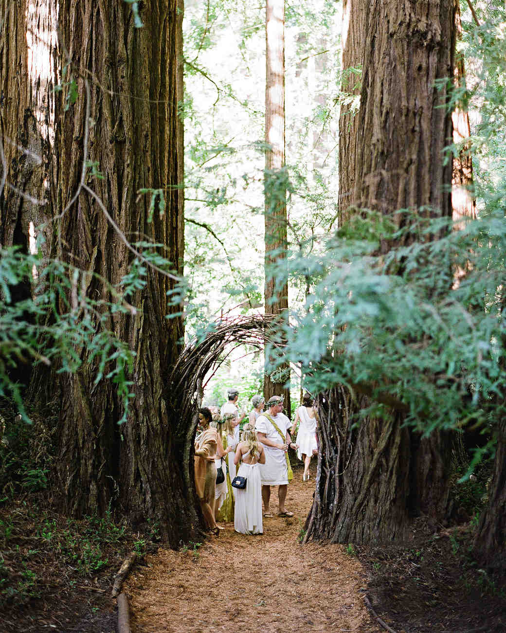 whitney zach rehearsal dinner wooded arch