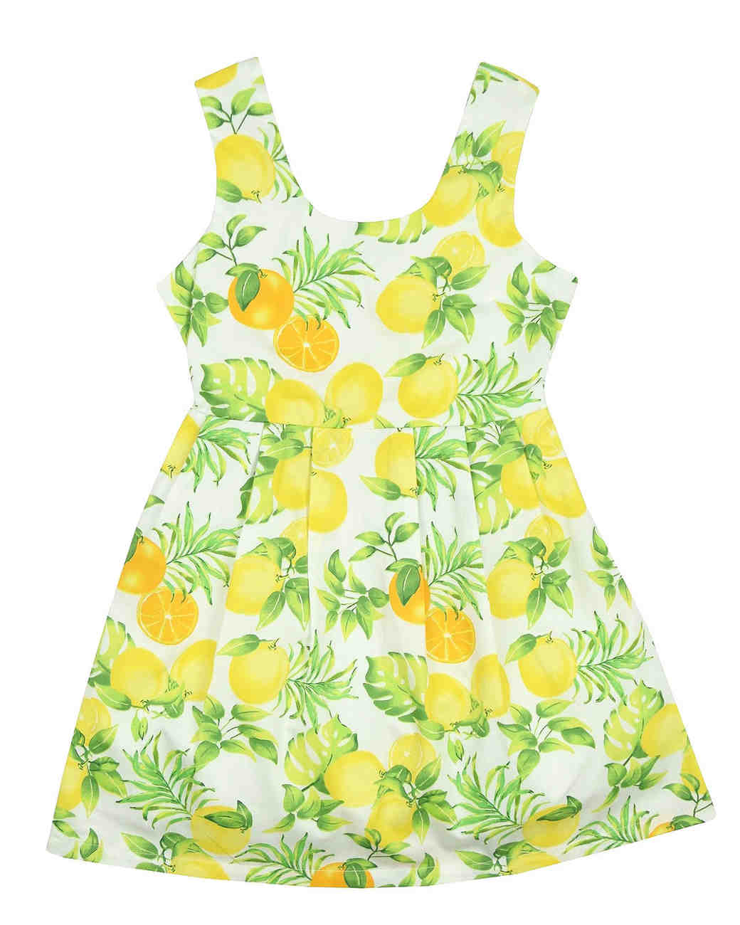 yellow lemon print flower girl dress