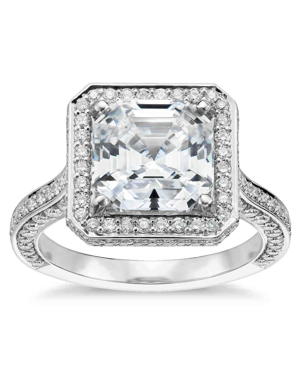 Blue Nile Studio Asscher Cut Royal Halo Diamond Engagement Ring