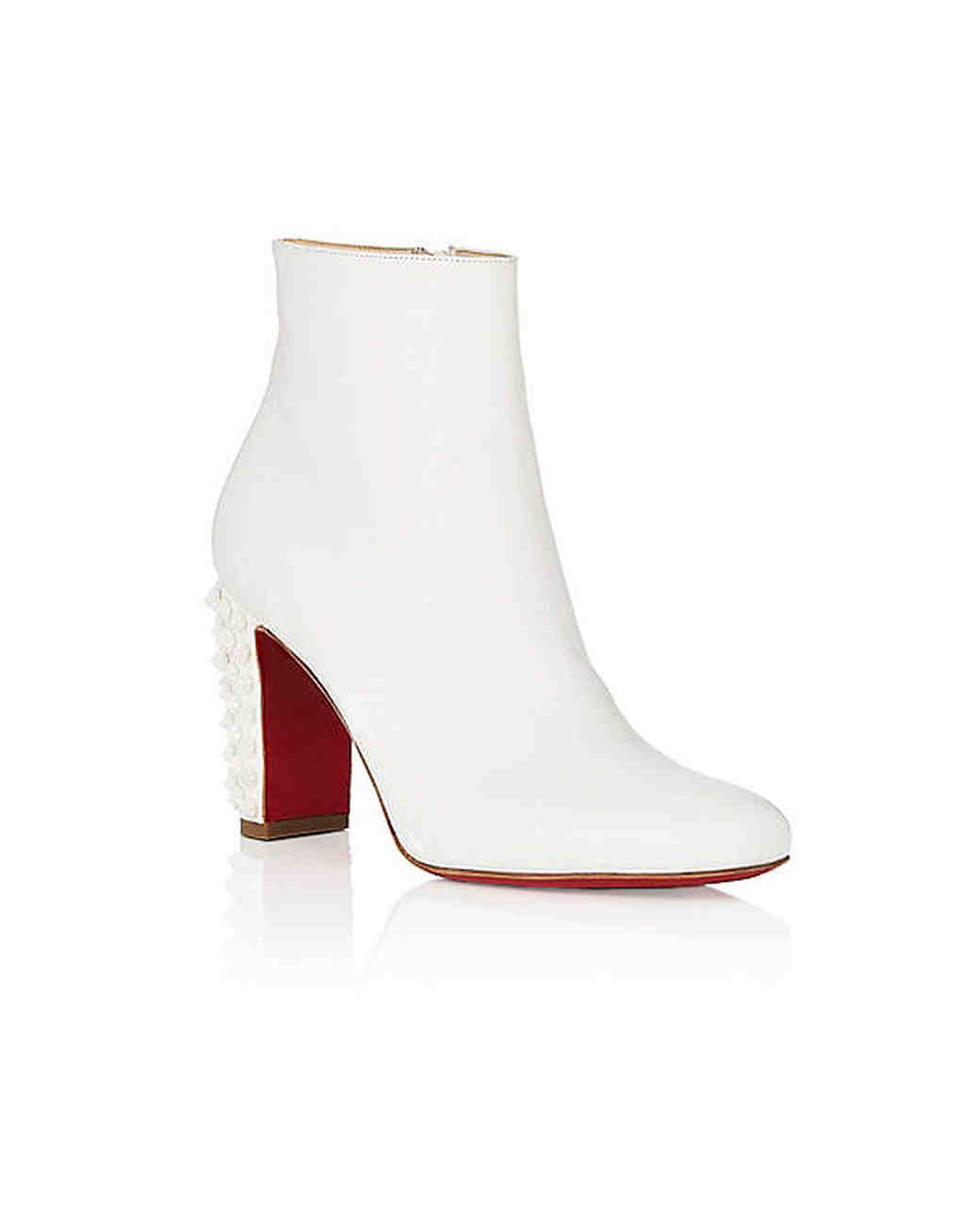 white bridal booties christian louboutin suzi ankle boots with red bottoms