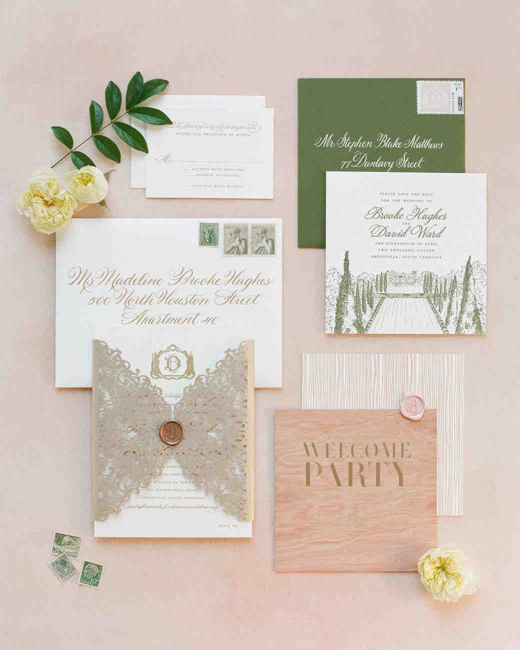 Green and White Spring Stationery Suite