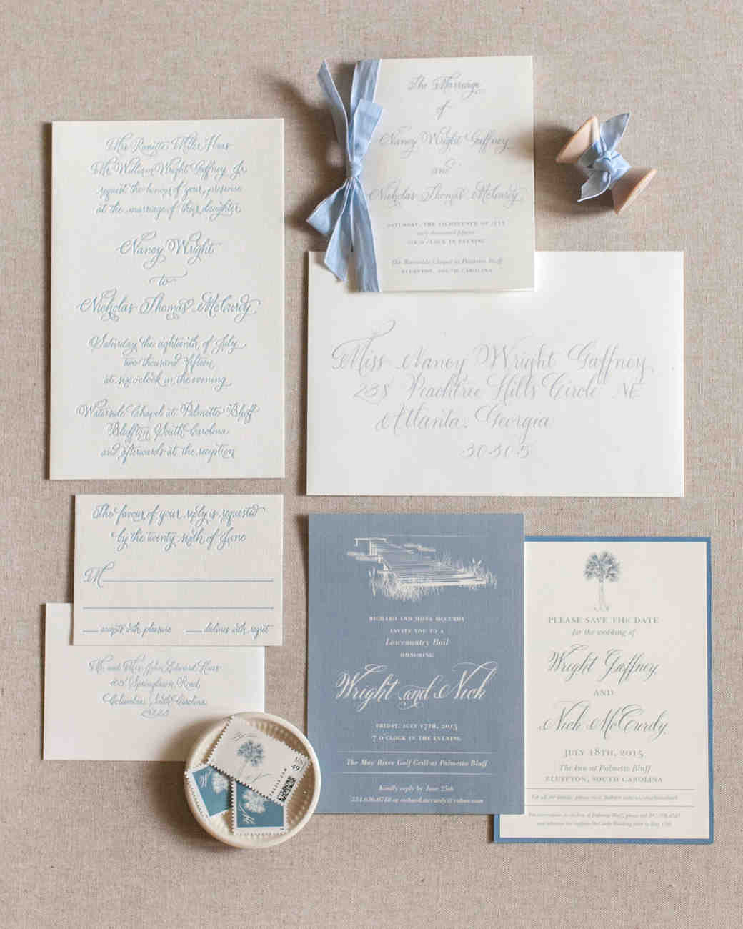 classic invitation hues of blue writing and borders