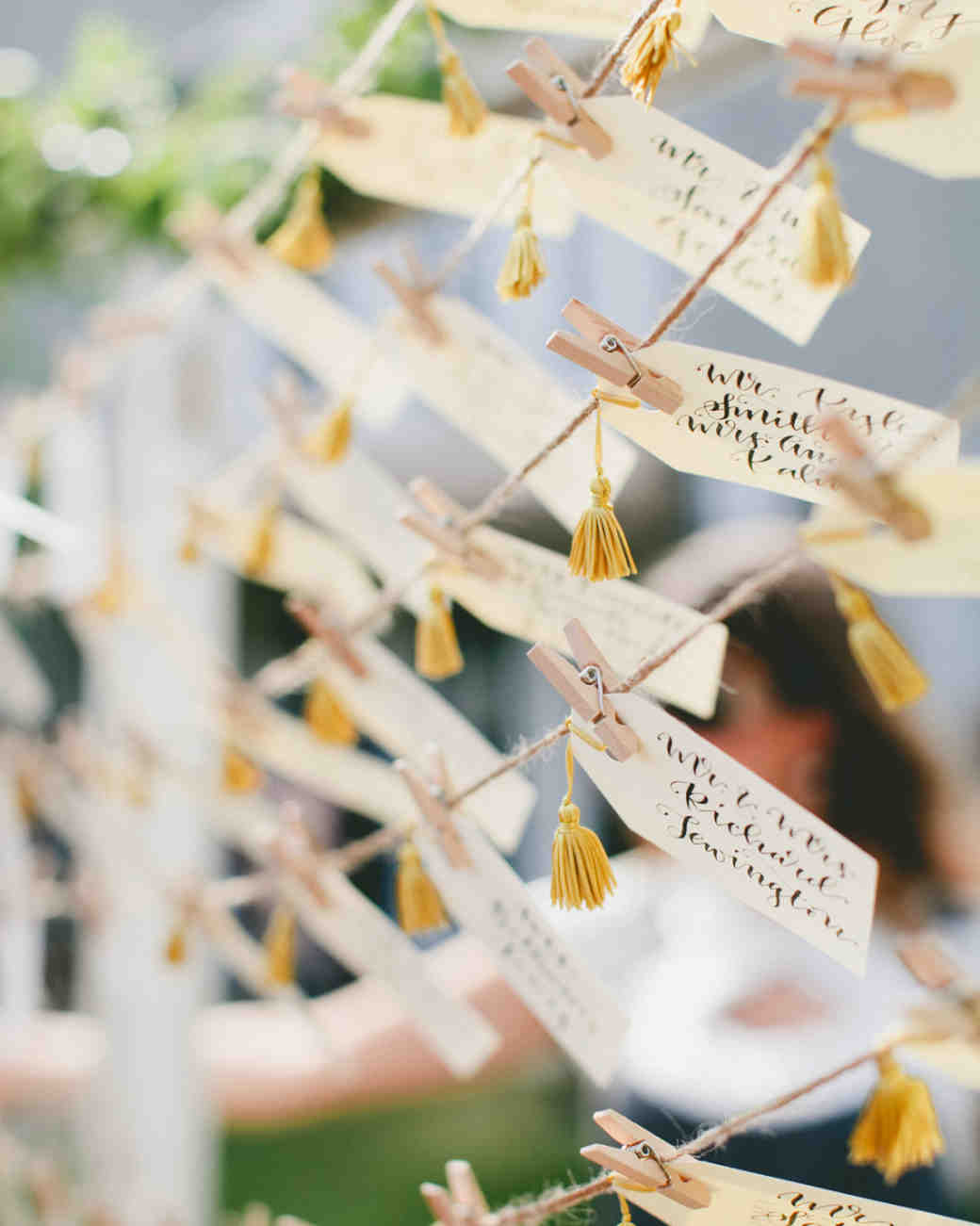 seating cards with yellow tassels
