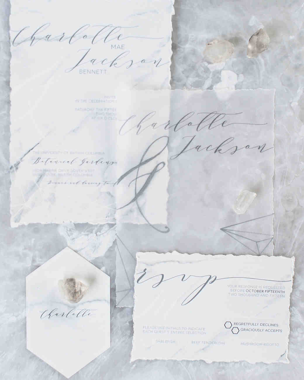 deckle edge invitations blush wedding photography