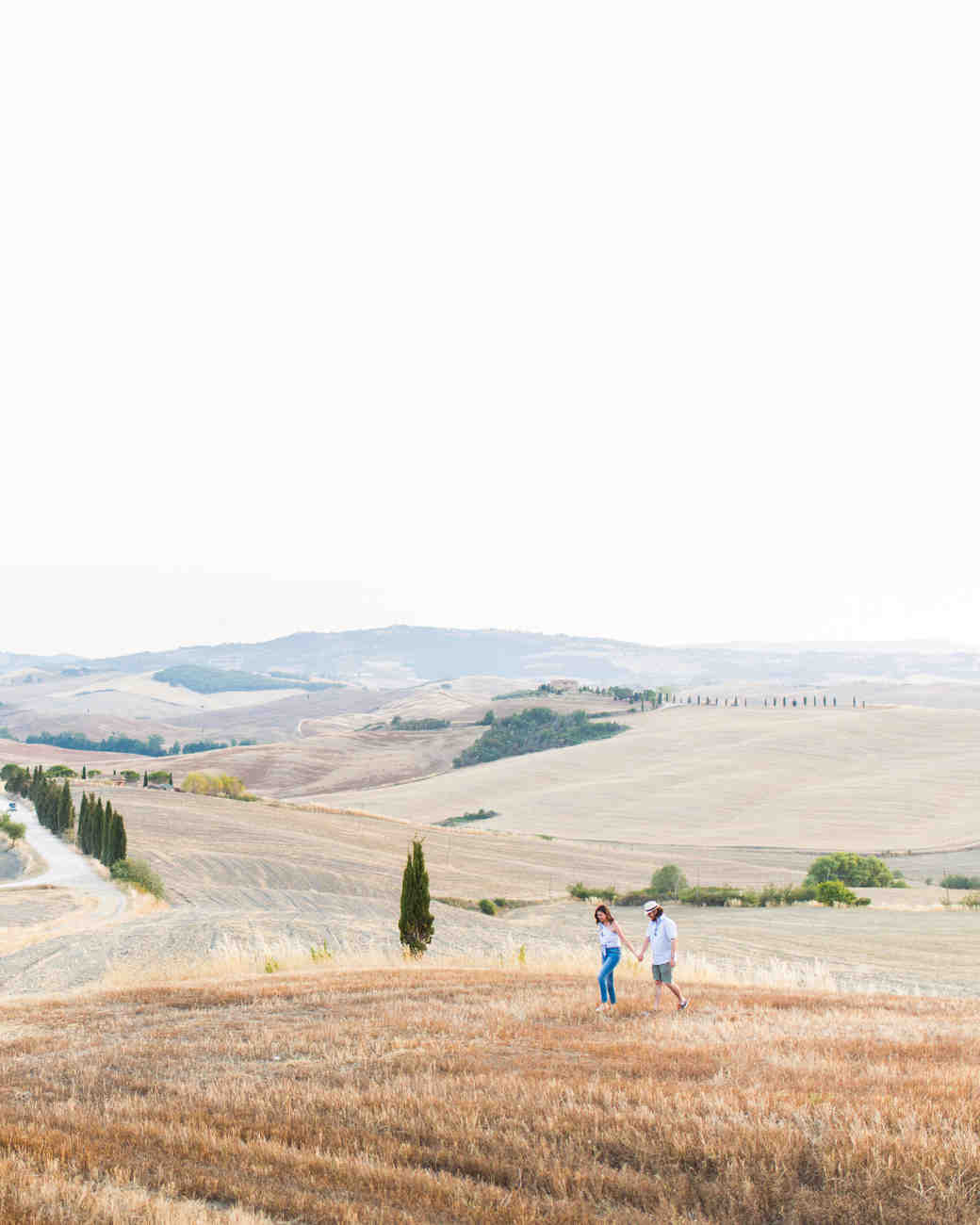 destination engagement couple italian countryside hills