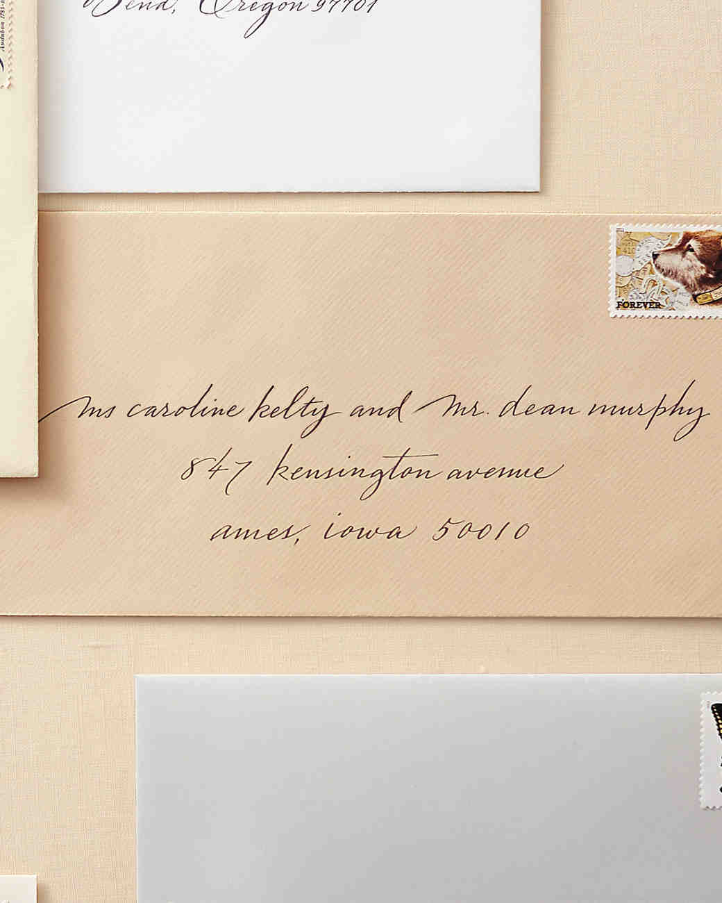 How to address guests on wedding invitation envelopes martha to a couple with different last names filmwisefo Images