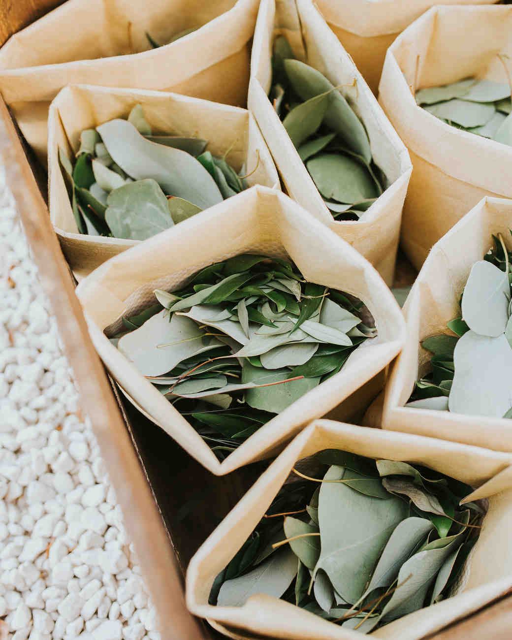 eucalyptus leaves individual bags wedding toss