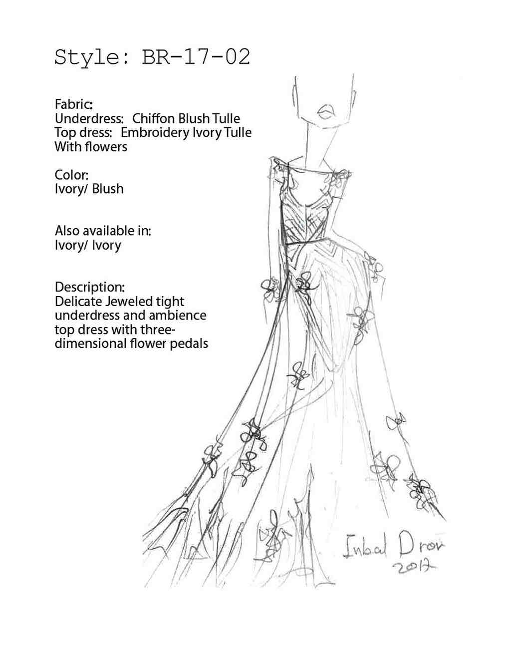 inbal dror fall 2017 exclusive wedding dress sketch
