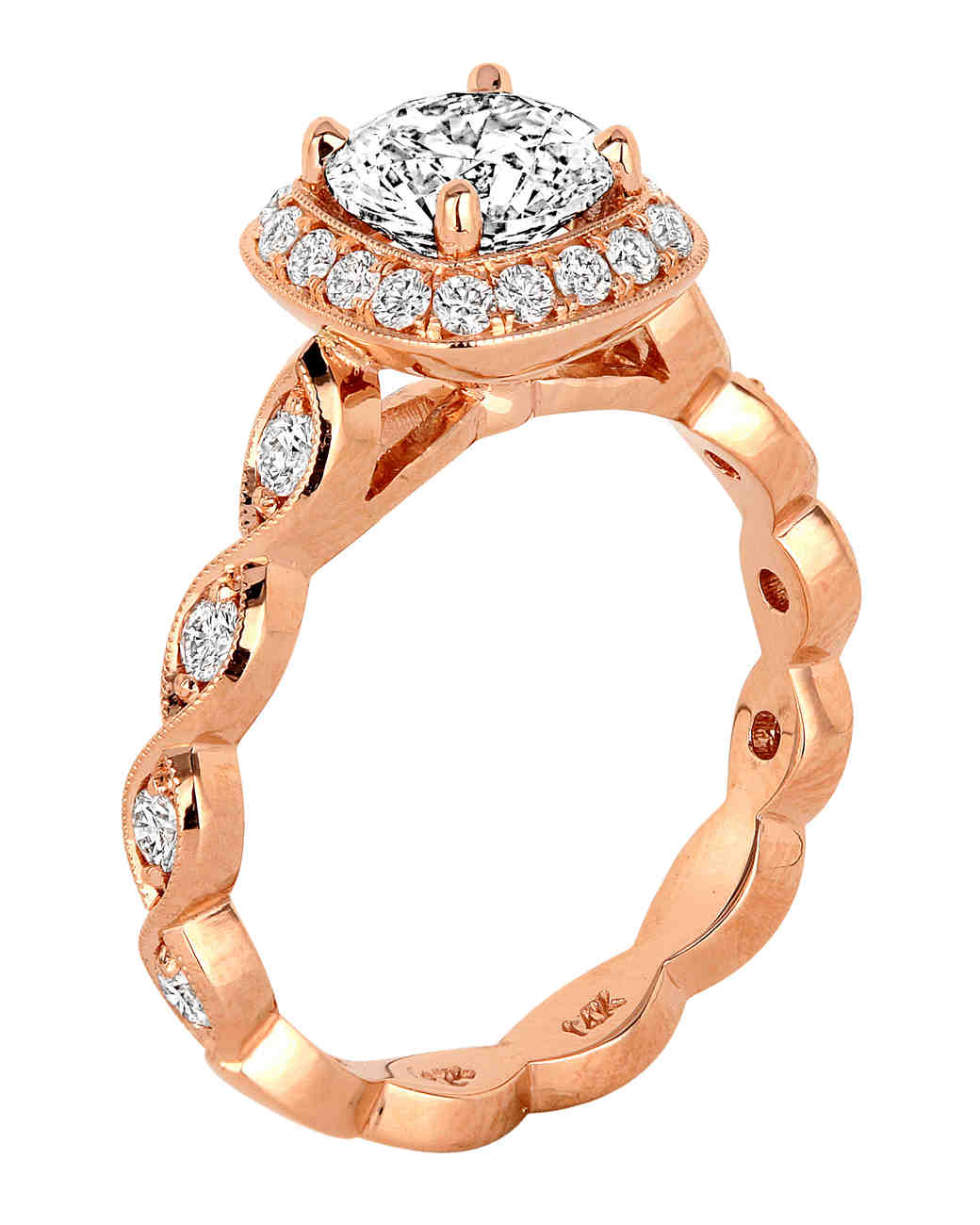 Jack Kelége rose gold engagement ring with brilliant cut white diamonds