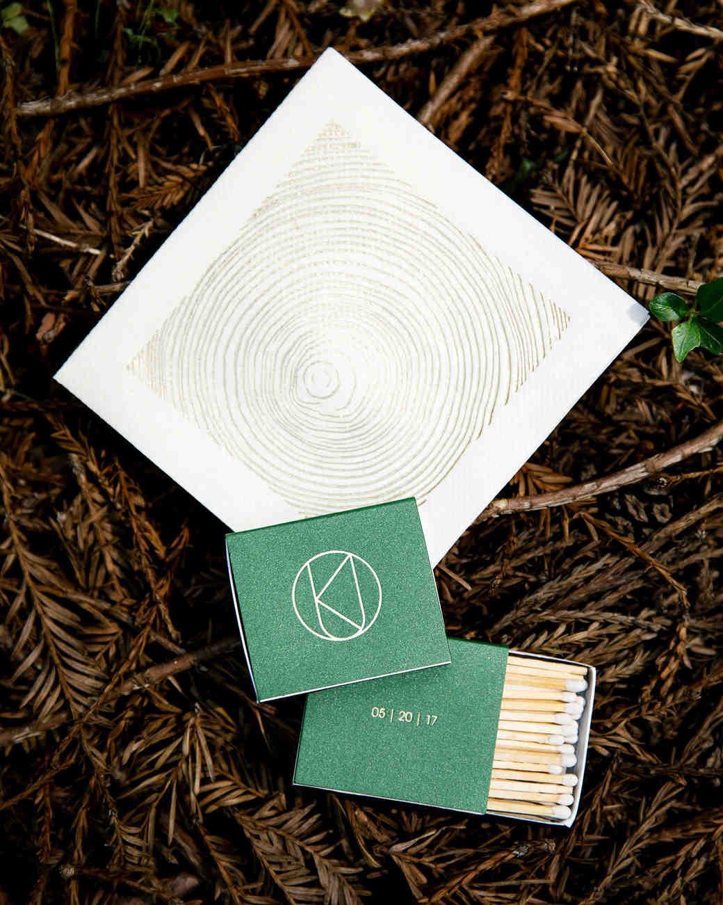 kendall jackson wedding matches and napkin