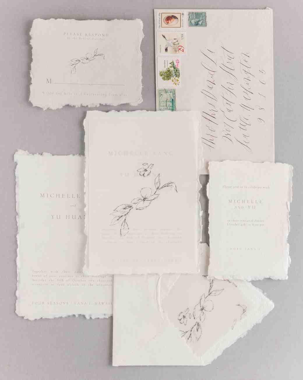 wedding invitation set delicate stationery white pink