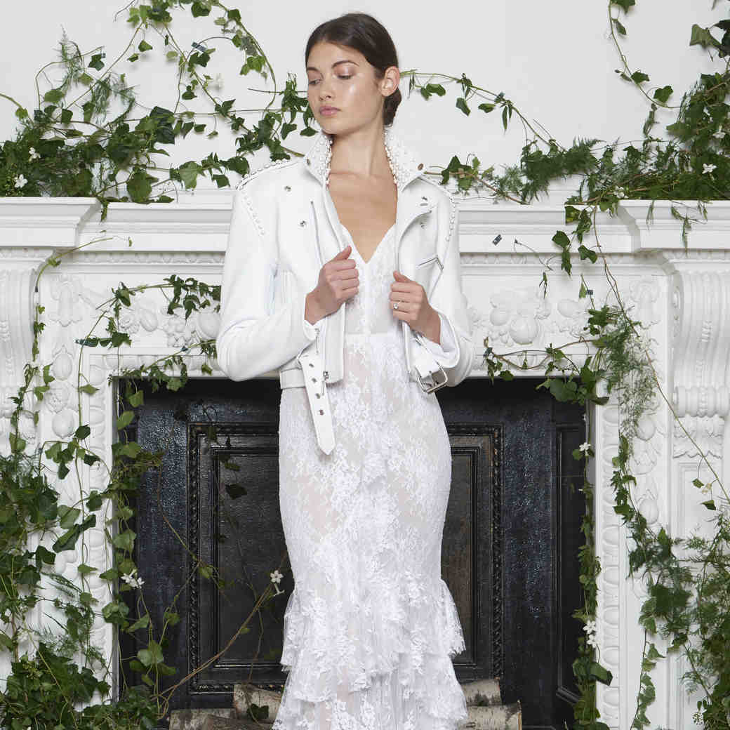 Monique Lhuillier Fall 2018 Lace Sheath Wedding Dress with Jacket