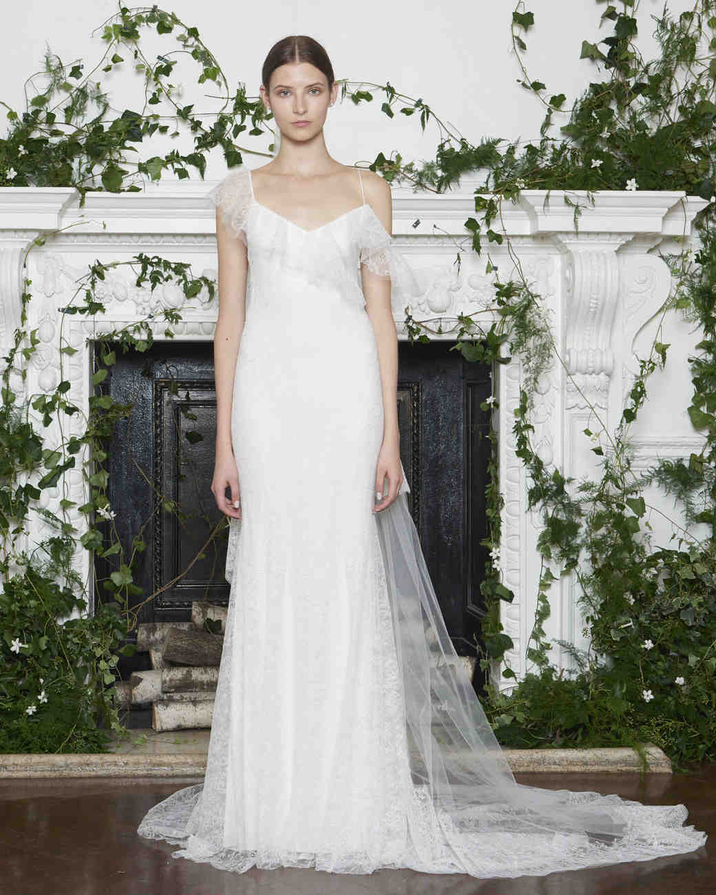 Monique Lhuillier Fall 2018 Sheath Wedding Dress with Asymmetrical Sleeves