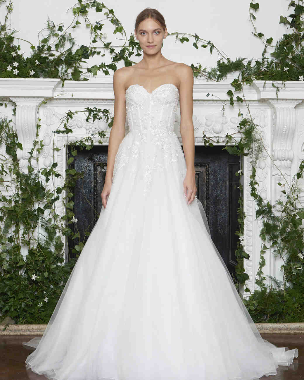 Monique Lhuillier Fall 2018 Strapless Lace Ball Gown with Exposed Boning