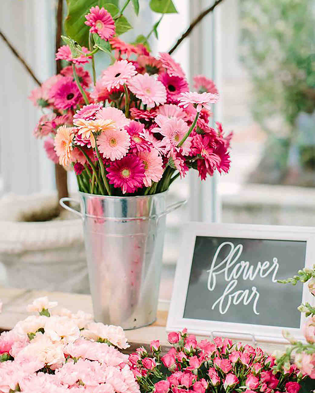 pink bridal shower flower bar