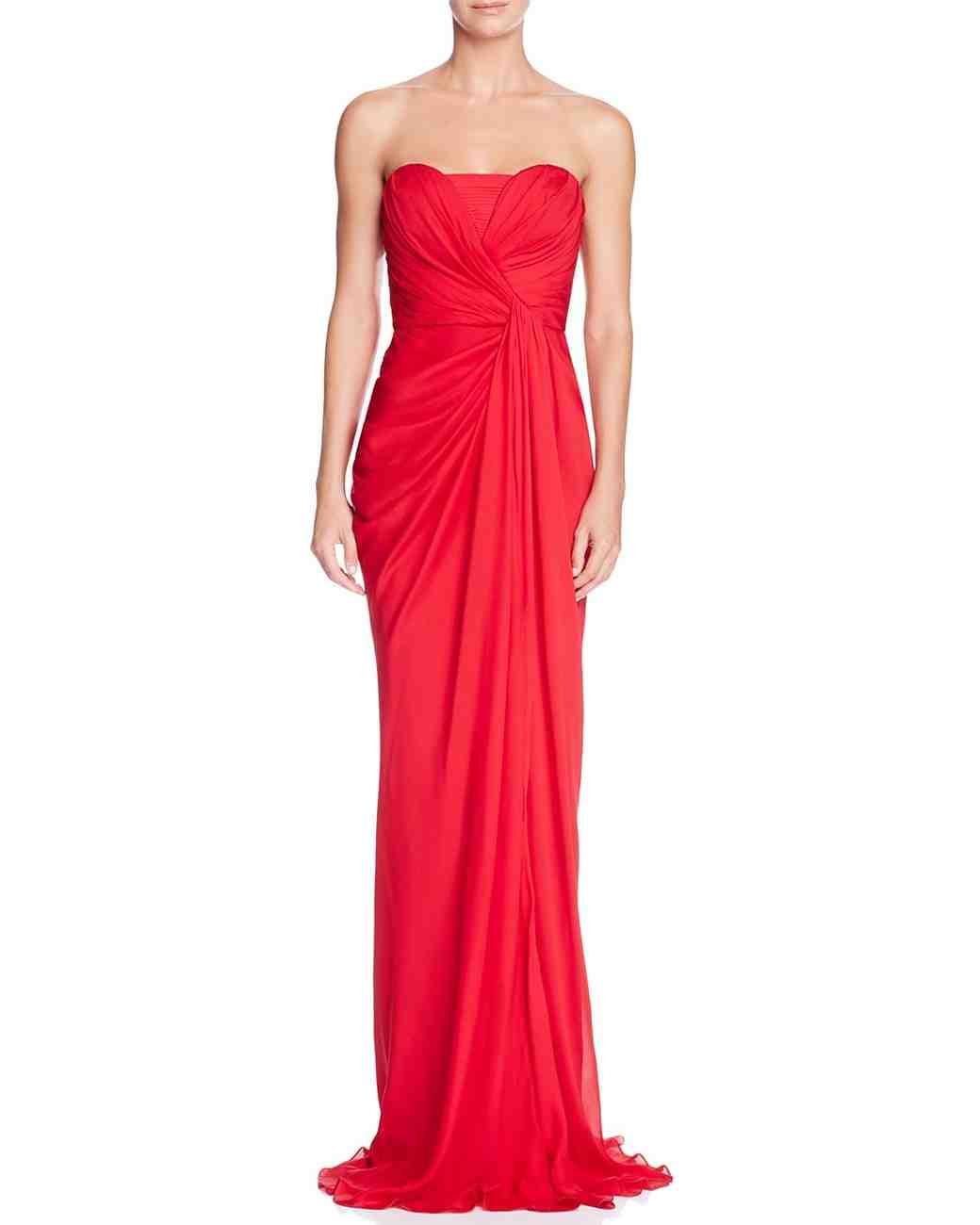 red bridesmaid dress badgley mischka silk strapless