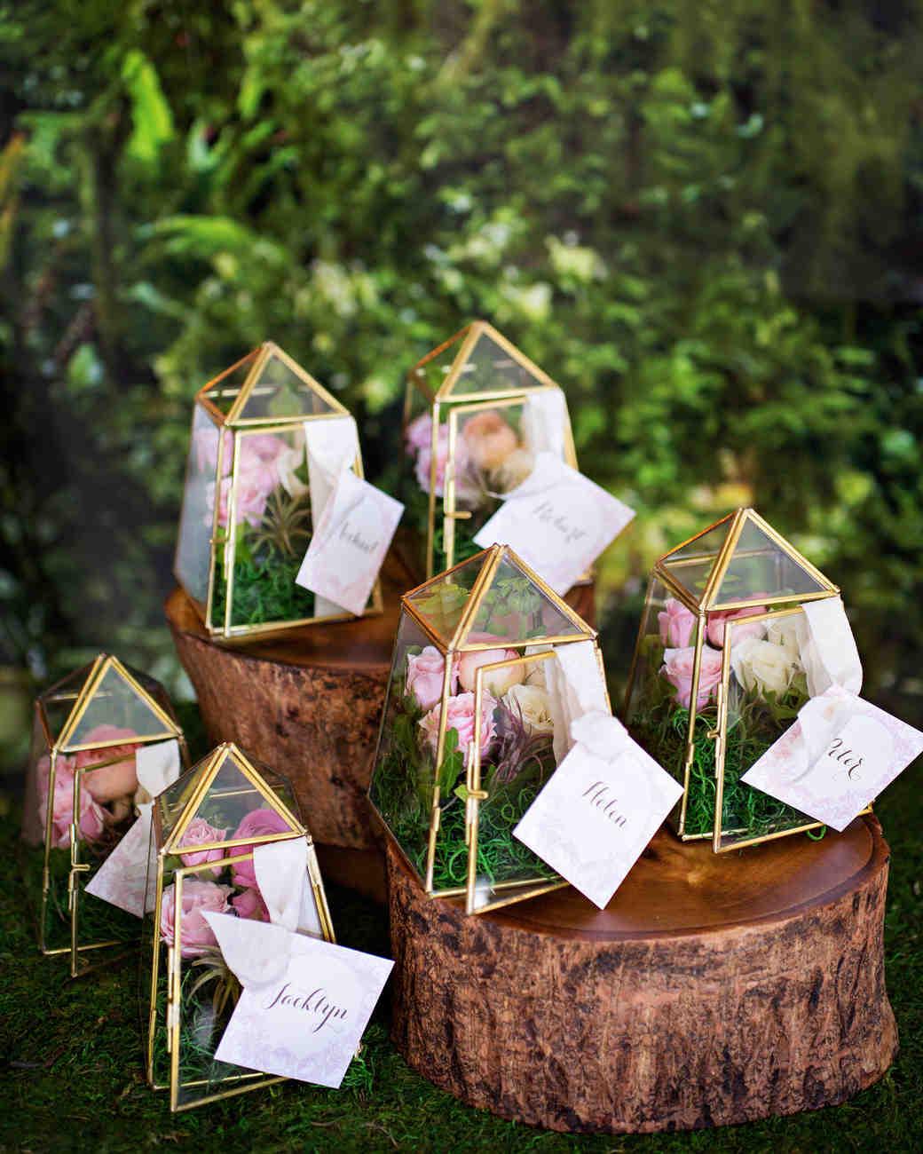terrarium wedding ideas escort cards