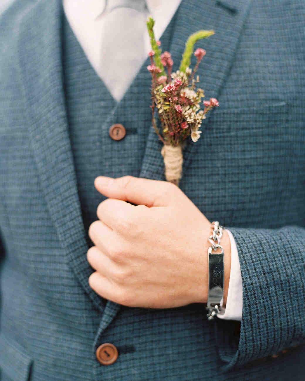 boutonniere blue suit groom