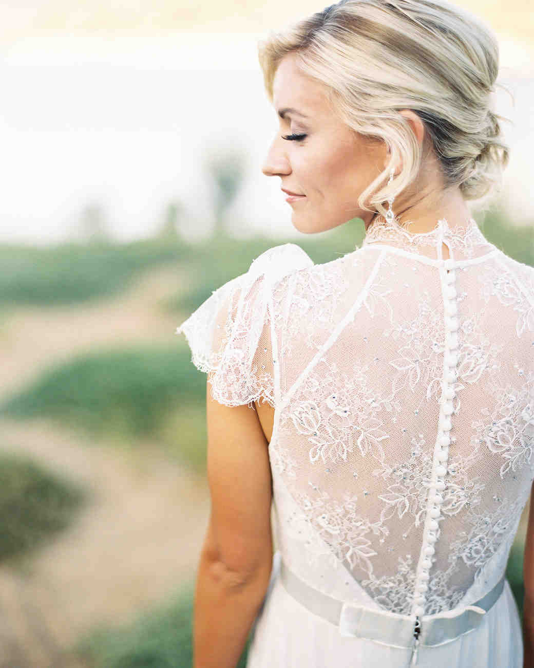 wedding dresses with buttons lace high neck