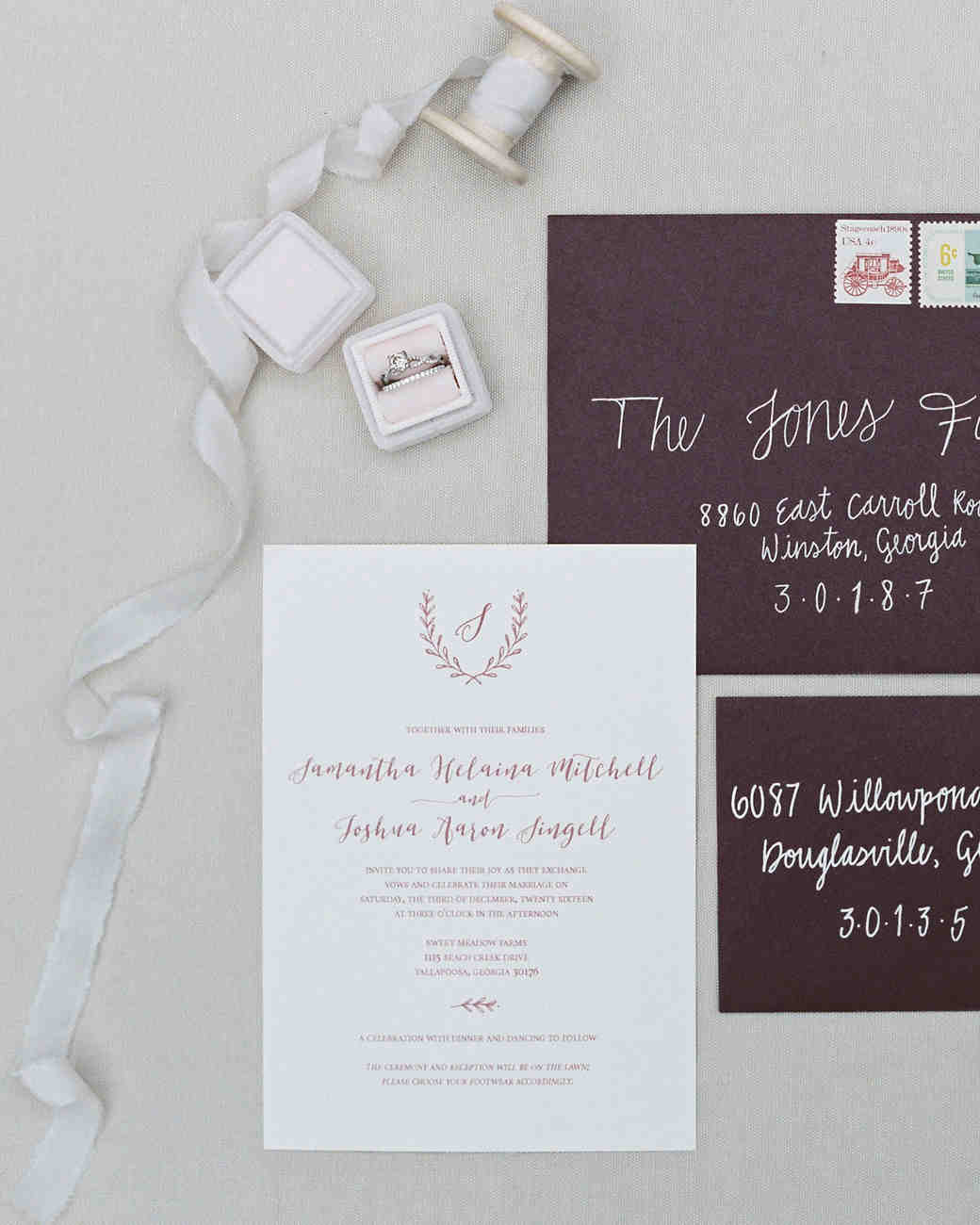 burgundy winter invitations