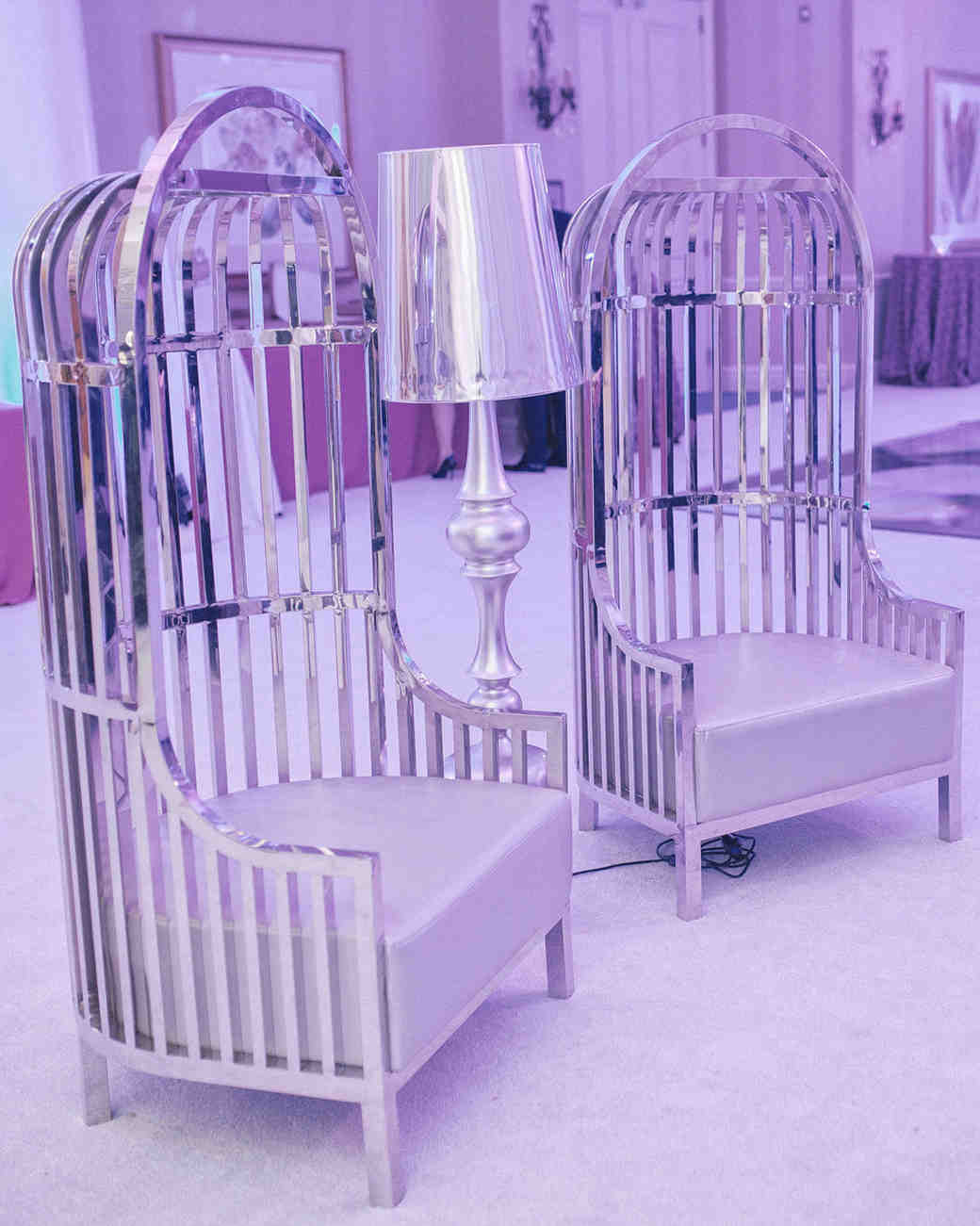 after party decor pink room with unique metallic chairs