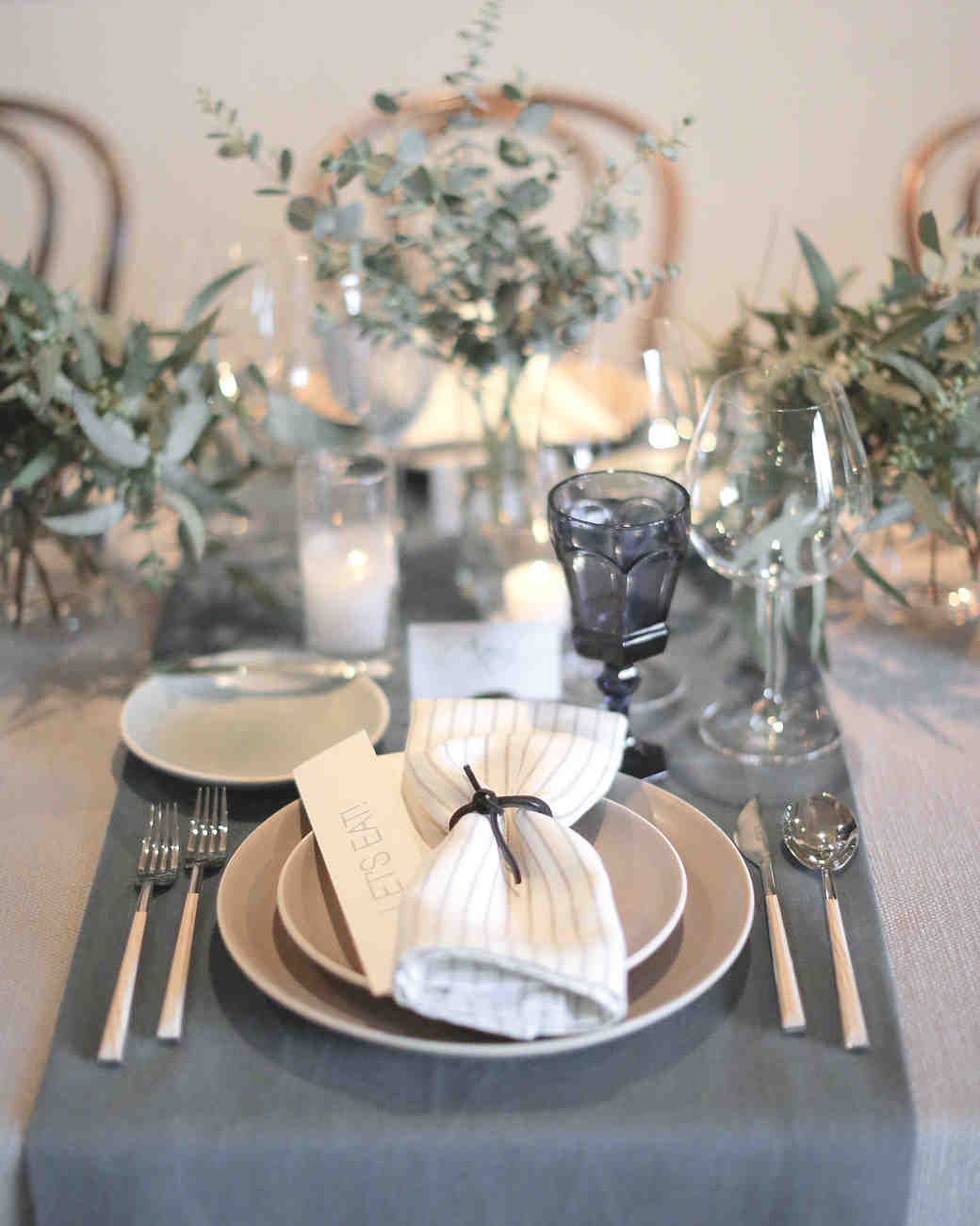 Gray Cream and White Table Settings & 18 Creative Ways to Set Your Reception Tables | Martha Stewart Weddings