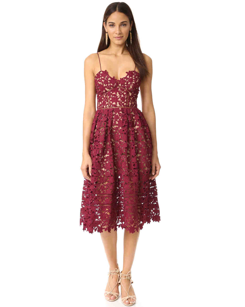 "burgundy bridesmaid dress – Self Portrait ""Azalea Dress"""