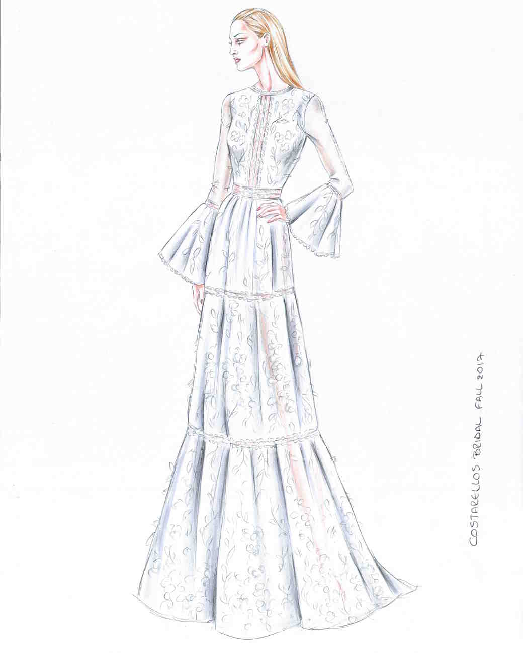 Costarellos Fall 2017 Exclusive Wedding Dress Sketch