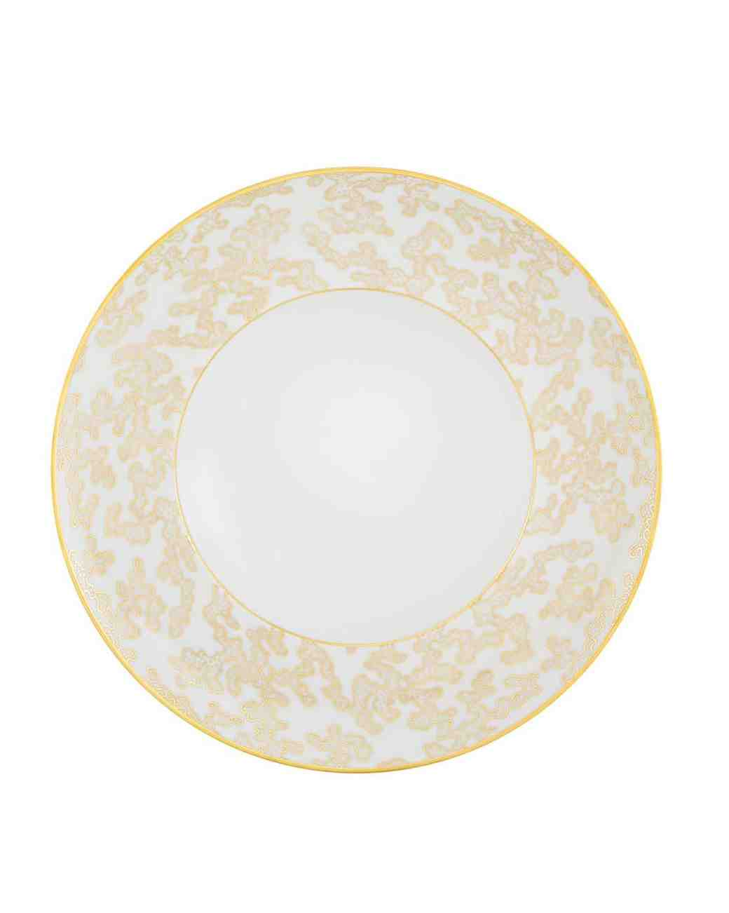 white and gold dessert plate
