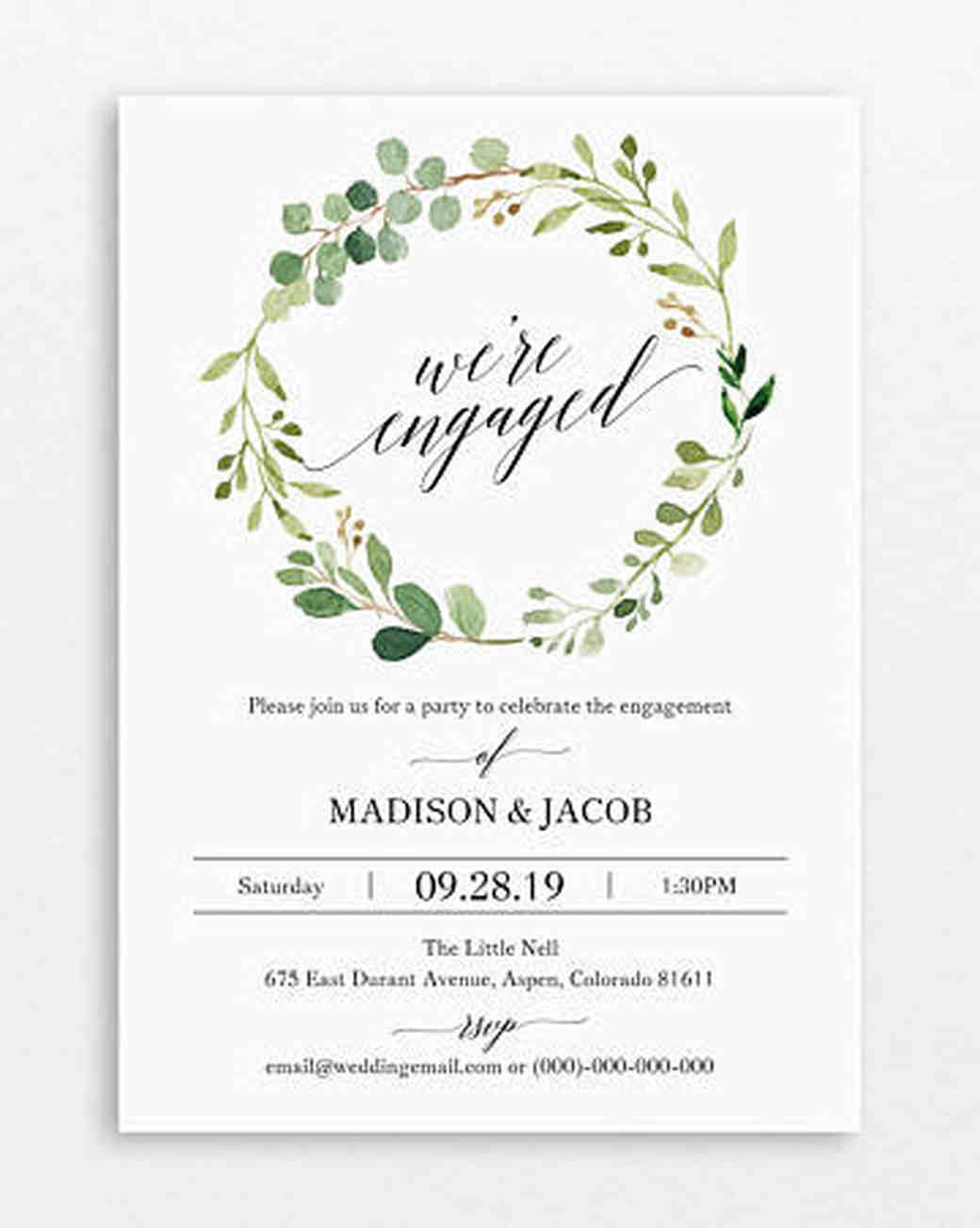 "Marry Me Paper Boutique ""We're Engaged"" Engagement Party Invitation"