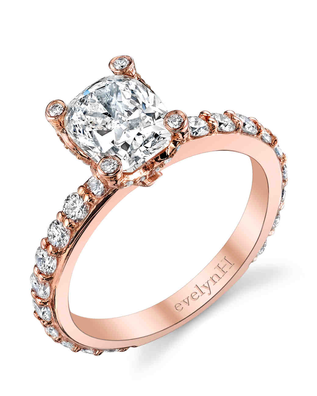 EvelynH Jewelry rose gold diamond pave band engagement ring