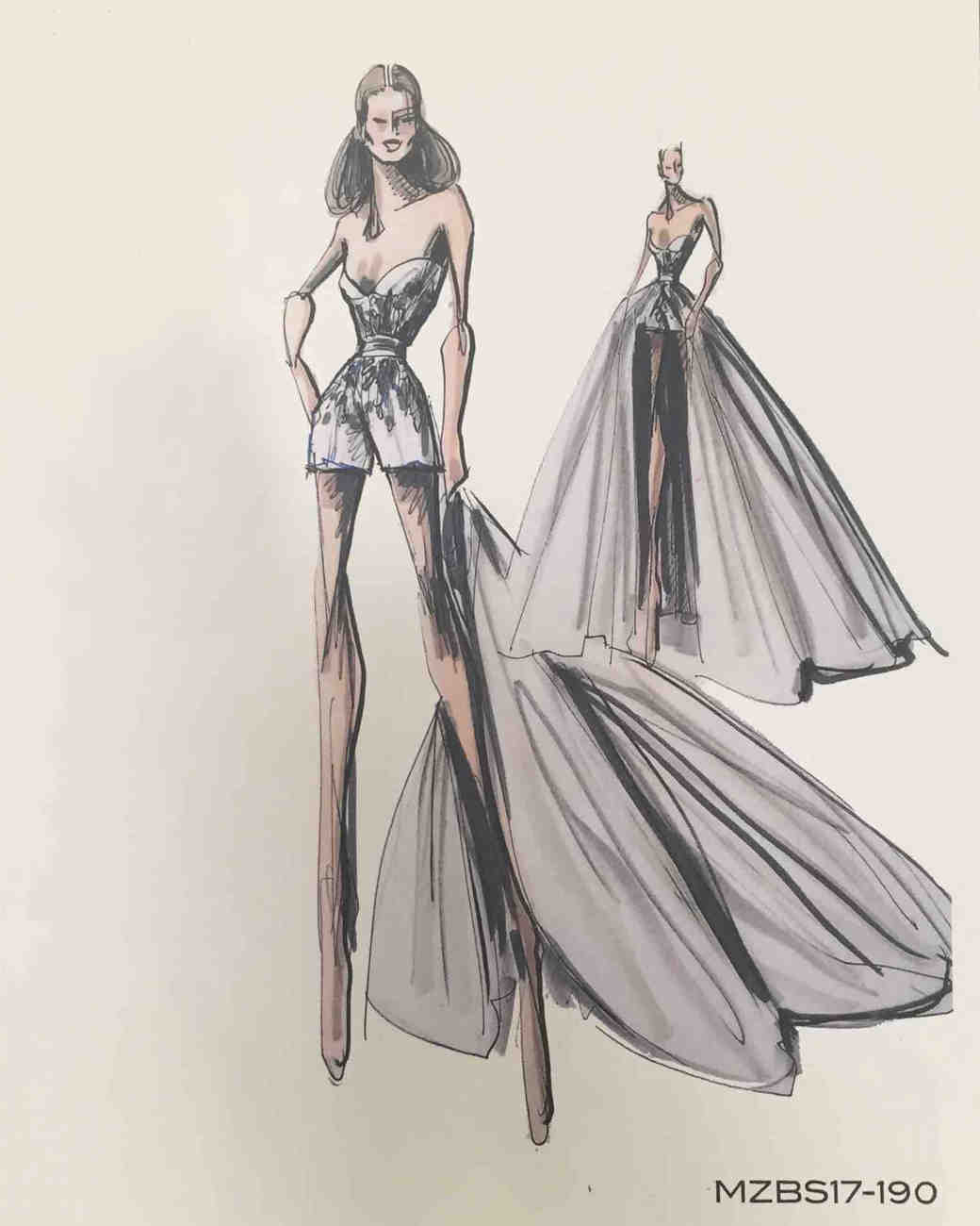 Mark Zunino Fall 2017 Exclusive Wedding Dress Sketch