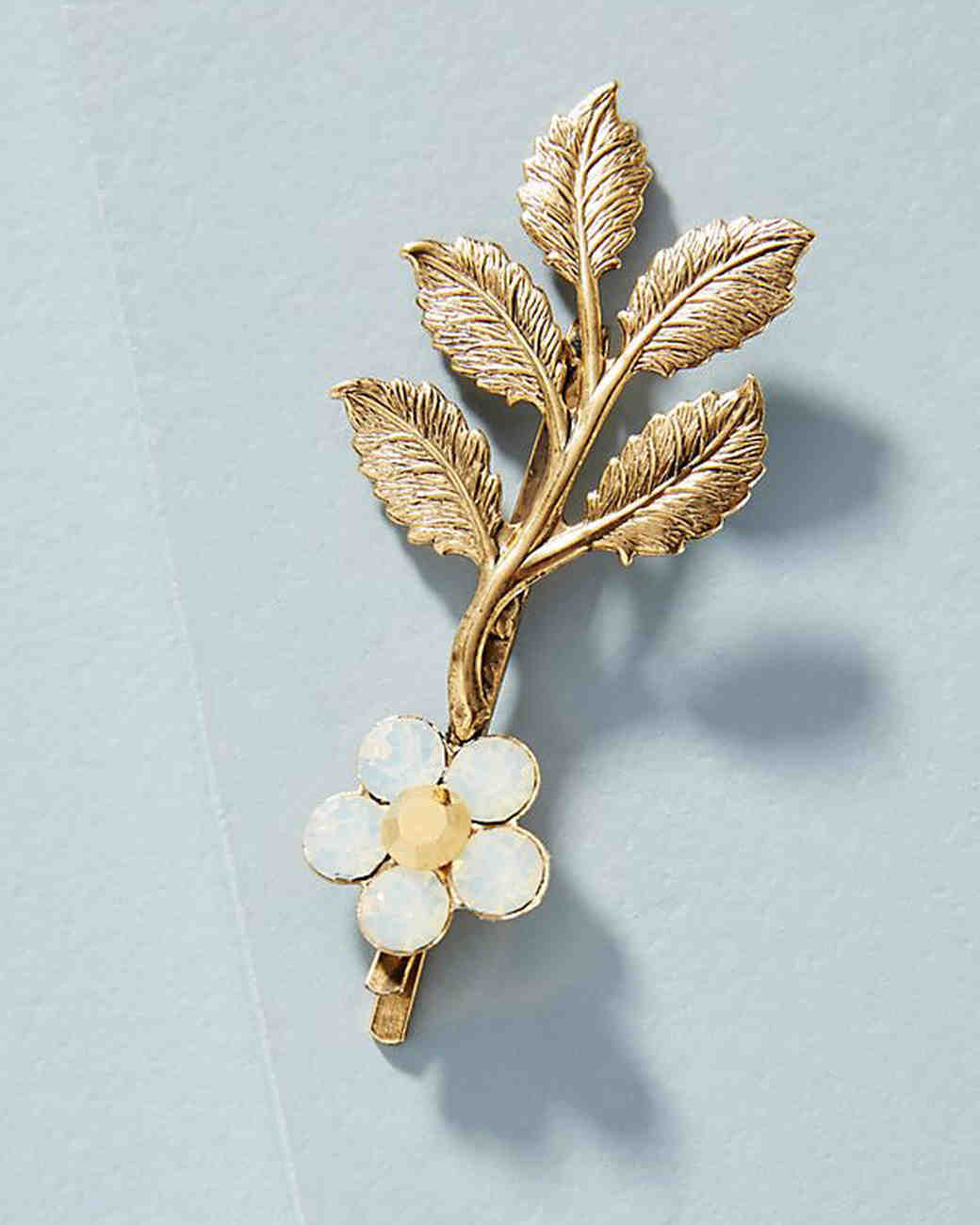 antique gold-plated leaves and flower hair pin